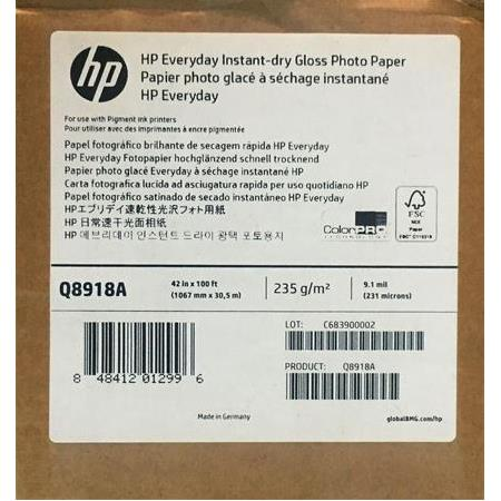 Q8918A HP Everyday Instant-dry Gloss Photo Paper 235 g/m2 1067 mm x 30,5 m 231 mic.