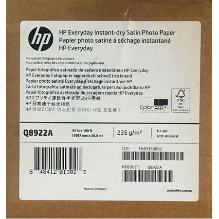 Q8922A HP Everyday Instant-dry Satin Photo Paper 235 g/m2 1067 mm x 30,5 m 231 mic.
